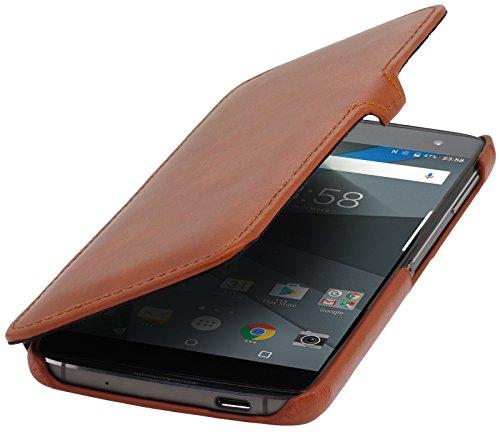 StilGut Book Type Lederhülle für BlackBerry DTEK60. Seitlich klappbares Flip-Case aus Echtleder, Cognac mit Clip