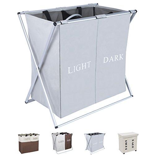 dokehom-large-2-sections-laundry-basket-foldable-washing-basket-fabric-laundry-hamper-grey