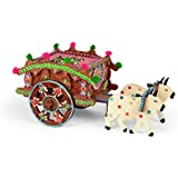 Ansh Artism Cow Cart Dry Fruit Box With Wheel MDF Wood Spice Box/Masala Box/Dry Fruits Container