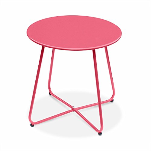 Alice's Garden - Table Basse Ronde – Cecilia Rouge Framboise– Table d'appoint Ronde Ø45cm, Acier thermolaqué