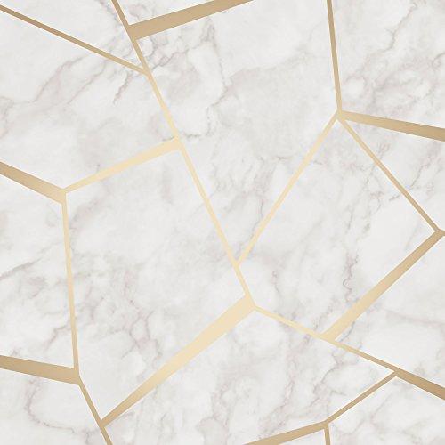 Fractal Geometrische Marmor Tapete Gold und Weiß–Fine Decor fd42265