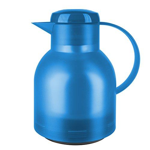 Emsa 509819 Isolierkanne, 1 Liter, Quick Press Verschluss, 100% dicht, Transluzent Azurblau, Samba