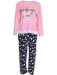 slylive mujeres cuello redondo manga larga rayas camisa – Juego de pijama pijamas de Casual Homewear