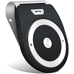 Aigoss Kit Mains Libres Bluetooth 4.2 avec détecteur de Mouvement intégré pour GPS de Musique, Mains Libres, visière sans Fil pour 2 téléphones Noir