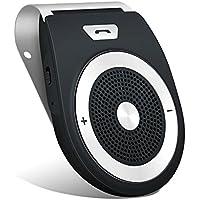 Aigoss Auto Freisprecheinrichtung Bluetooth 4.2 mit eingebautem Bewegungssensor, Unterstützt GPS, Musik,Handsfree Wireless Visier Speakerphone für 2 Telefone Schwarz