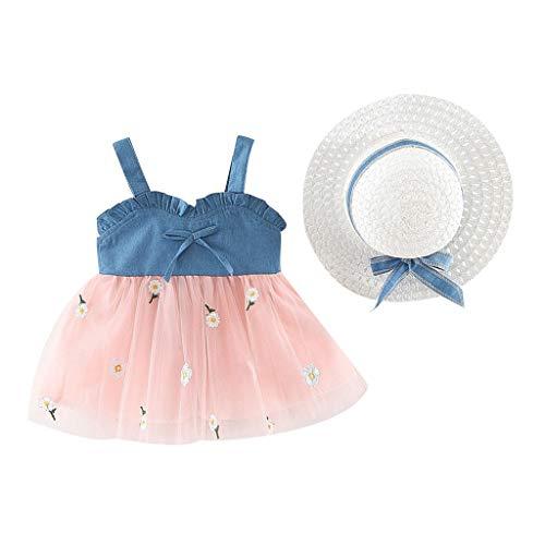 LSAltd Sommer Kleinkind Baby Kinder Mädchen Schöne Bowknot Rüschen Sling Tüll Prinzessin Kleider + Weben Hut Süße Outfit Set -