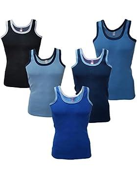 5x Unterhemden Tank Top Baumwolle 100% ★ nach Oeko Tex Standard 100 ★ Blau Schwarz Achselhemd★Unterhemd Herren...