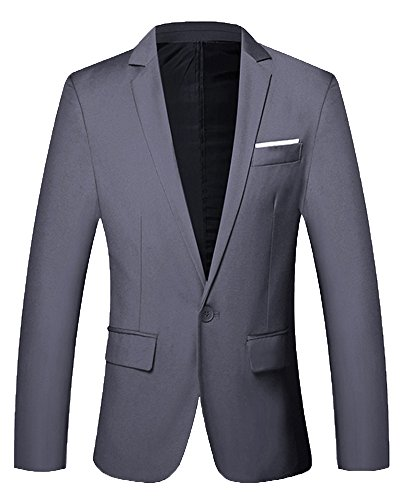 Herren Freizeit Jacke Ein Knopf Blazer Slim Fit Anzugjacke Grau XL