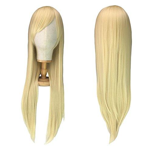 Perücke Blond 80cm Lange Haare Sexy Damenperücke Wig für Karneval Cosplay Halloween fasching (hellblond)