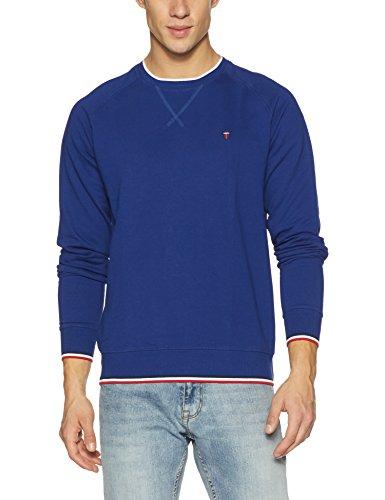 LP Louis Philippe Men's Cotton Sweatshirt (8907239691059_LYST515S00269_Large_Medium Blue Solid)