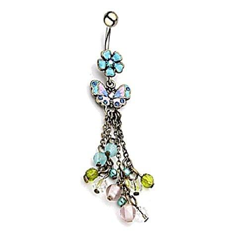 beyoutifulthings Bauch-nabelpiercing VINTAGE-ANHÄNGER 1,6mm 10mm Nabel-piercing Edelstahl Chirurgenstahl Bananabell Zirkonia Opal Perlen (Bauch Butterfly Ring)
