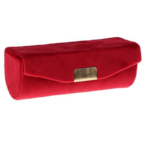 Fenteer Samt Lippenstiftbox/Etui mit Spiegel und Druckknopf - Granat -
