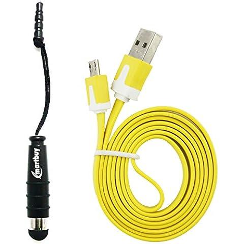 Emartbuy Duo Paquete para LG U - Negro Mini Lápiz Óptico + Amarillo Plano Anti-enredo Micro USB datos & Cable Cargador