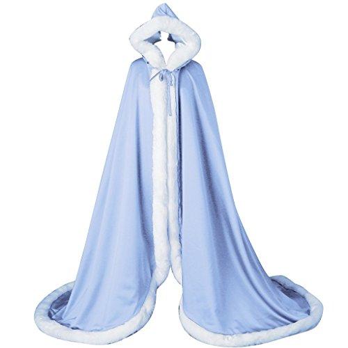 kivie Cape à Capuche Fourrure Longue de Mariée Chaude Capuchon Manteau de Mariage bleu clair