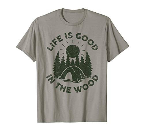 Life Is Good In the Wood Happy Camper T Shirt Kids Men Women (Peoples T-shirt Champ)