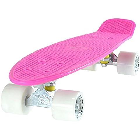 LAND SURFER® Skateboard Cruiser Retro Completo con tavola Rosa 56cm - cuscinetti ABEC-7 - Ruote Bianche 59mm PU + borsa per il trasporto