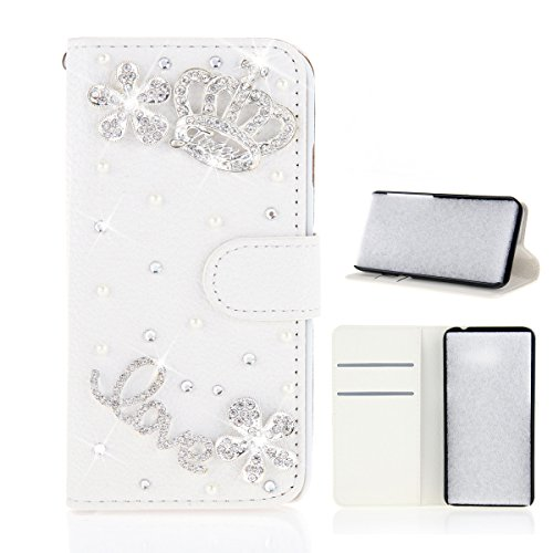 Meizu Pro 7 Hülle, PU-Leder Handytasche Brieftasche Shell Strass-Design Handyhülle Flip Stand Stoßfestes Telefon Folio Cover mit Magnetver schluss für Meizu Pro 7 (White Crown)