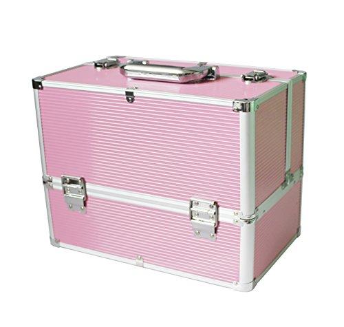 Preisvergleich Produktbild KScase Aluminium Kosmetikkoffer Reisegepäck Werkzeugkoffer 365 x 220 x 270 mm (Rosa)