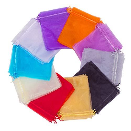 Madholly 100 piezas Bolsa de organza de (15x 20 CM) en 10 colores, bolsa de joyería, bolsa de regalo para regalo de joyería, Halloween, Navidad, etc.