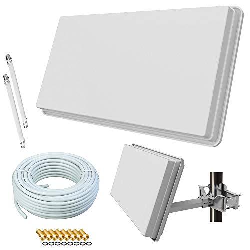 netshop 25 Selfsat H30D2+ Flachantenne Twin + 20m Kabel + Fensterhalterung + Fensterdurchführung + F-Stecker (Sat Anlage für 2 Teilnehmer)