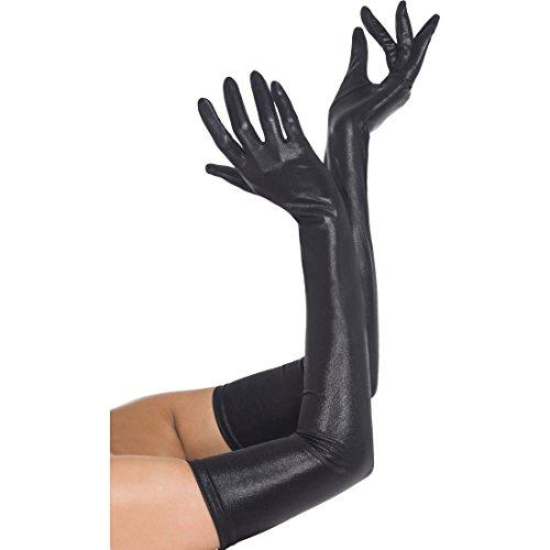 Amakando Lack Handschuhe Sexy Damenhandschuhe lang Lederoptik, schwarz Gothic Lackhandschuhe Hexe Langarmhandschuhe Damen Halloweenkostüm Accessoire Halloween Kostüm - Schwarz Sexy Kostüm Zubehör