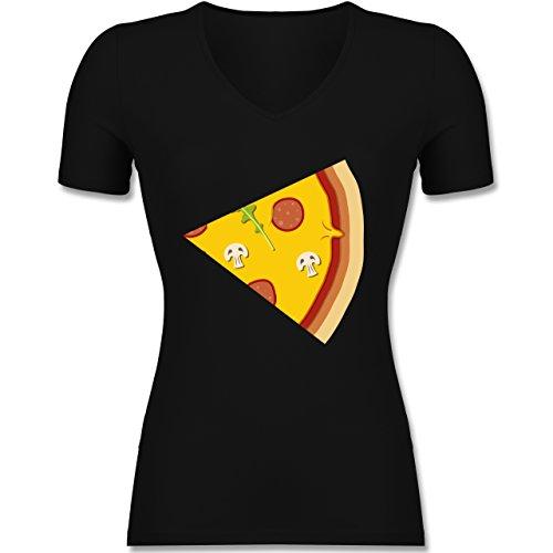 Shirtracer Partner-Look Pärchen Damen - Pizza Pärchenmotiv Teil 2 - Tailliertes T-Shirt mit V-Ausschnitt für Frauen Schwarz