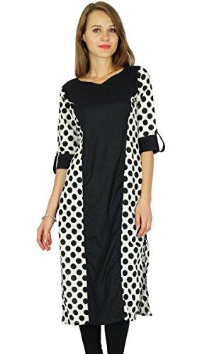 Phagun designer kurta Bollywood Indian femmes robe kurti Noir Et Blanc