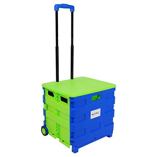WOLTU EW4806gn Einkaufswagen 64L Einkaufstrolley Einkaufsroller Shopping Trolley klappbar bis 35kg mit Deckel Blau-Grün