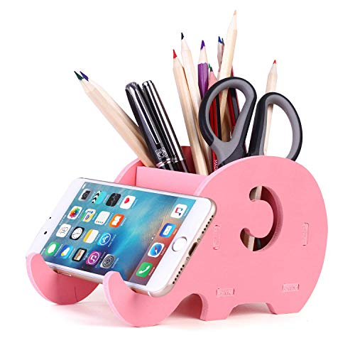 Soporte de teléfono celular, COOLBROS Porta-lápiz de elefante de madera con teléfono Organizador de escritorio de titular