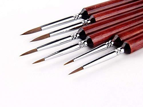 6Pcs 6Différent Tailles Set de pinceau pour détail Pinceaux à cheveux Weasel Miniature pour peinture aquarelle, acrylique et linéaire