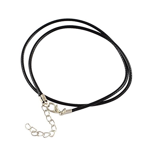 """PandaHall 100 Stück Wax Geflochtene Imitation Lederschnur Kette Leder Schnur Wachs Halsketten mit Karabinerverschluss für DIY Schmuck Herstellung Schwarz 17.3\"""""""