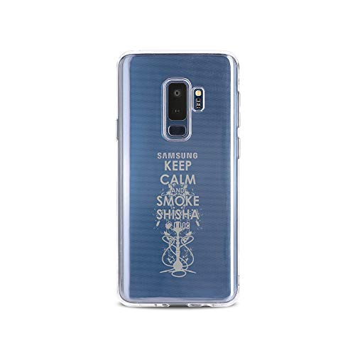 licaso Samsung S9 Plus Handyhülle Smartphone Samsung Case aus TPU mit Keep Calm and Smoke Shisha Print Motiv Slim Design Transparent Cover Schutz Hülle Protector Soft Aufdruck Lustig Funny Druck