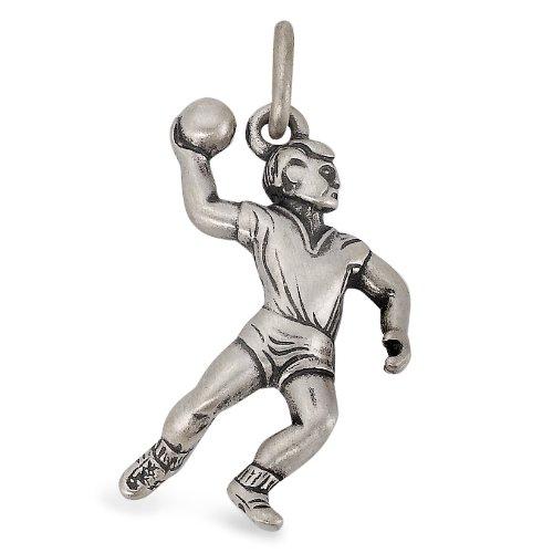 Anhänger Silber patiniert Handball, Anhängeröse: 2.5 mm, Beschichtung: patiniert, Breite: 16 mm, Länge (mm): 24 mm, Motiv: Handball, Zielgruppe: OPUS