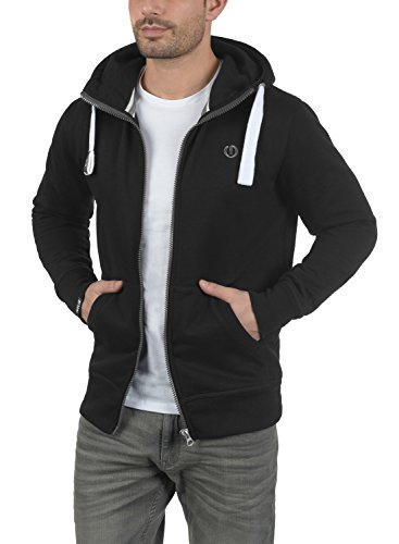 !Solid Benn High-Neck Herren Sweatjacke Kapuzenjacke Hoodie mit Kapuze Reißverschluss und Fleece-Innenseite, Größe:S, Farbe:Black (9000) - 3