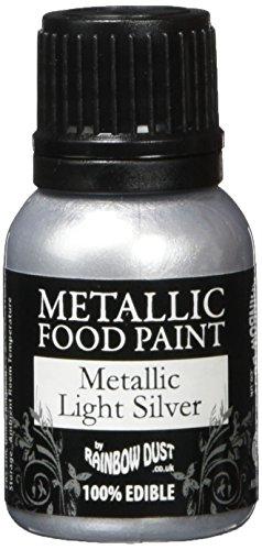 Rainbow Dust Metallic-Lebensmittelfarbe Silver Light, 1er Pack (1 x 25 ml) -