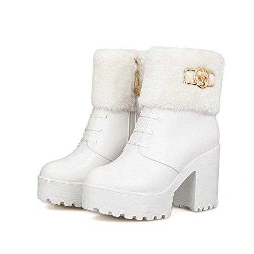 AllhqFashion Damen Knöchel Hohe Reißverschluss Weiches Material Hoher Absatz Stiefel, Weiß, 40