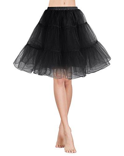 rock Tüllrock 50S Retro Rockabilly kurz Petticoat Ballet Tanzkleid Unterkleid für Cosplay Crinoline Party Black XL (Billig Und Einfach Fancy Dress)