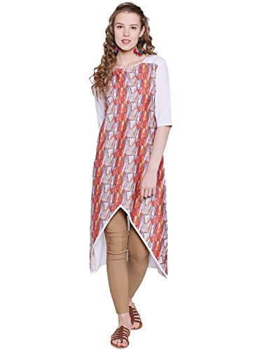 M.Tex Women's Multi Color 3/4th Sleeve And Round Neck Crepe Kurti