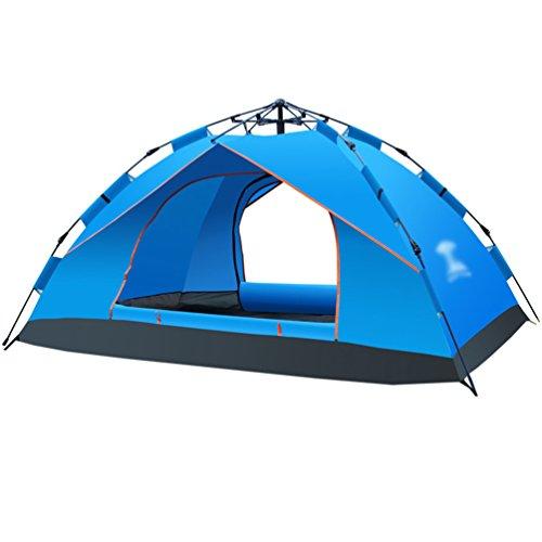 Dooxi 3-4 Outdoor Familie Tragbares Strand Zelt Wasserdicht Pop Up Camping Zelte mit Doppel-Tür Blau