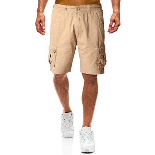 YiYLunneo Shorts Herren Jogging Sport Reine Farbe Beiläufige Lose Jogginghose Shorts Hose Laufhose Trainingshose Locker Lässig Multi-Pocket Tooling Shorts Baumwollshorts -