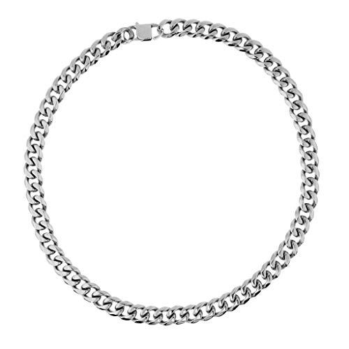 IPOTCH Collar Cadena de Eslabón Hip Hop Accesorios para Hombre Rapero - Plata 15 mm Ancho