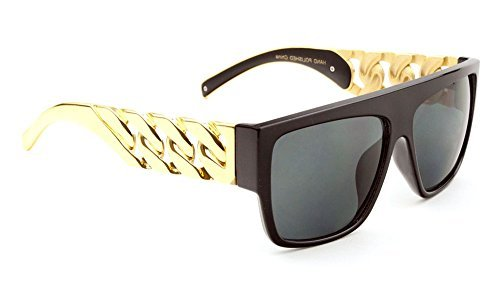 f82aad7bad Black Gold Cuban Link Chain Wayfarer Sunglasses Black Lens