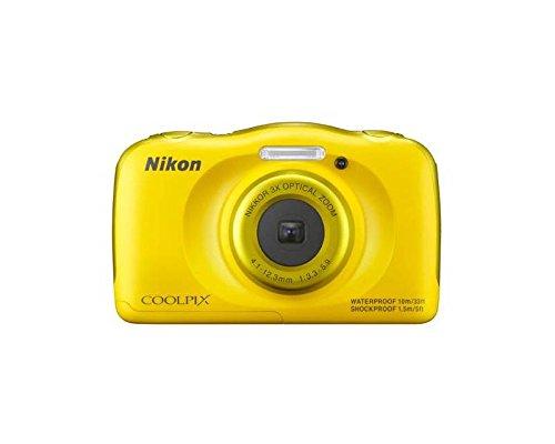 Nikon COOLPIX S33 + Selfie stick - Cámara digital compacta (13.2 MP, zoom óptico de 3x y pantalla de 2.7 pulgadas), amarillo