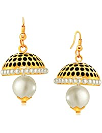 Spargz Black Traditional Hanging Gold Plaint Pretty Jhumki Earrings For Women AIER 646