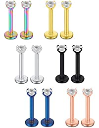 Acefun 6PRS(12pcs) 16G 2-4mm Clear CZ Internally Threaded Labret Monroe Lip