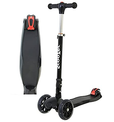 Kids Scooter 3 Wheels - Foldable & Height Adjustable - with Flashing LED Lights (Matte Black)