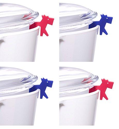 Topfdeckelhalter Silikon 4er-Set I Zubehör für Kochtopf, Pfannen-Deckel und Kochgeschirr I Kleine, Lustige, Bunte Küchenhelfer I Topfwächter Design Hund I Farbe Rot und Blau (Halter Gläser Hund)