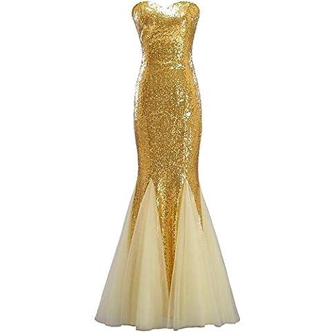Damigella d'onore senza spalline Mermaid paillettes chiffon increspato abito da sposa , gold , xxl