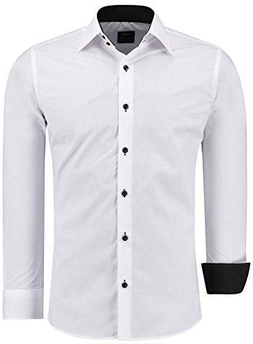 Herren Hemd Hemden Bügelleicht Business Hochzeit Freizeit Slim Fit S M L XL XXL, Farbe:Weiss/Schwarz;Größe:XL