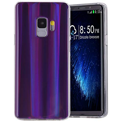 Amcor Love Coque Galaxy S9 Silicone, Aurores Boréales Coloré Cas Ultra Mince Souple TPU Silicone Full Protection Anti-Choc Anti-Rayures Housse Etui Couverture pour For Samsung Galaxy S9, Violet